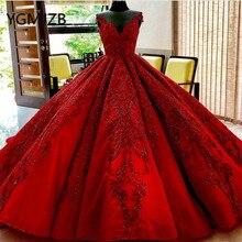 Роскошное красное свадебное платье 2020 бальное платье с v образным вырезом и кристаллами с аппликацией из Бисера Кружевное платье невесты Arabia свадебное платье Robe De Mariee