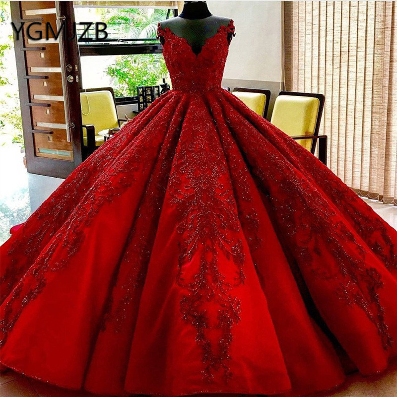 Luxury Red Wedding Dress Puffy Ball Gown V Neck Beaded Appliques Lace Saudi Arabia Bride Dress Wedding Gown Robe De Mariee 2020