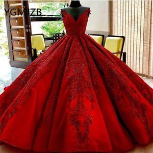 Image 1 - Vestido De novia rojo De lujo 2020, vestido De baile con escote en V, cristales, encaje con aplicaciones De Cuentas, Arabia, novia, vestido De boda