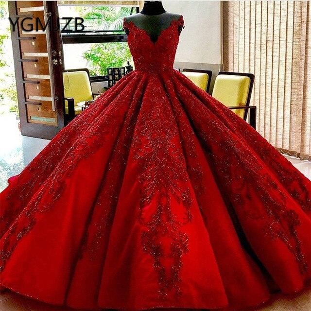 Vestido De novia rojo De lujo 2020, vestido De baile con escote en V, cristales, encaje con aplicaciones De Cuentas, Arabia, novia, vestido De boda