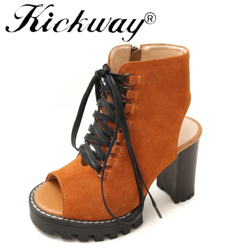 Kickway 2018 nouvelles femmes chaussures d'été couleur unie bottines d'été bottes pour dames véritable vache daim poisson bouche grande taille 35-41