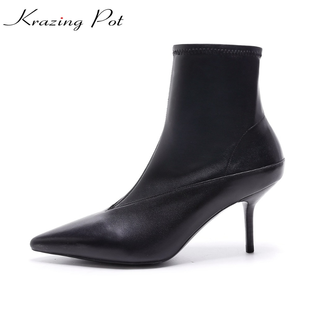 Krazing Pot recommend genuine leather high street fashion high heels stiletto pointed toe women warm party sexy ankle boots L51 krazing pot genuine leather sheep skin thick high heels square toe zipper boots women superstar party western mid calf boots l17