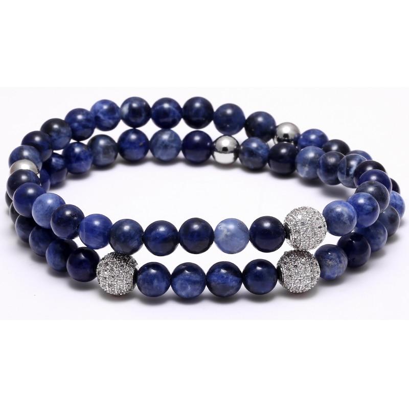 Blue 6MM Bead bracelet Nature Sea Stone bracelets 8mm CZ Zircon Paved Beads Men Elastic