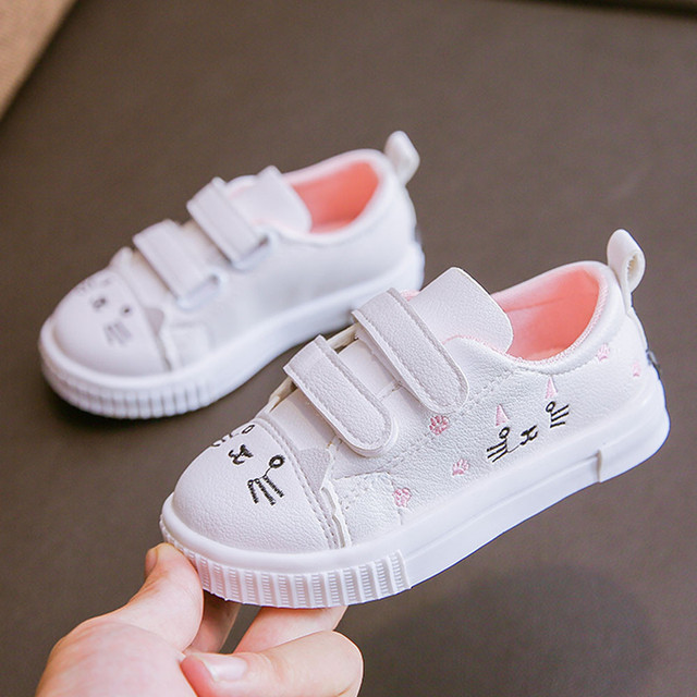 2019 children cat Anti-skid casual shoes low-help sports small white shoes boy girl print single shoes Calzado casual #YL2