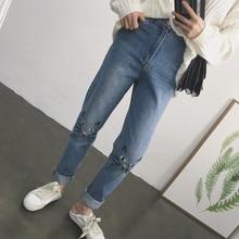 Весна и зима женщины мультфильм вышивка высокая талия шаровары случайных брюки свободные джинсы 2017 симпатичные синий джинсы мода