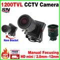 Новый Мини Ручной фокусировки 2.8-12 мм 1/3 CMOS режиме реального 1200TVL Djustable Цвет Объектива Видео HD CCTV Камеры Видеонаблюдения Металл