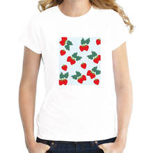 Cotton Fashion T Shirt Crew Neck Strawberry Short Sleeve Tall Womens