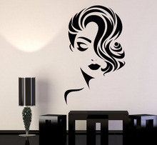 Girl Face Vinyl Wall Stickers Decor Beauty Salon Fashion Model Barbershop Sticker DIY Self adhesive Wallpaper