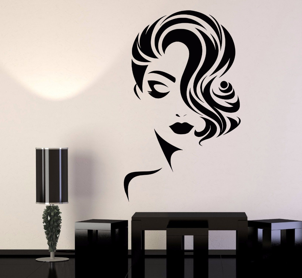 Girl Face Vinyl Wall Stickers font b Decor b font Beauty Salon Fashion Model Barbershop Sticker