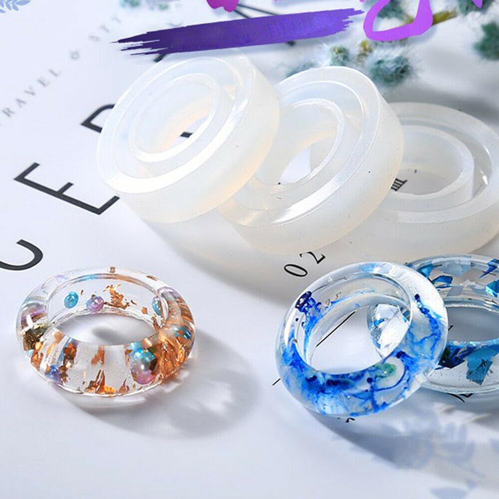Diy claro molde de anillo de silicona para resina epoxi herramientas de joyer/ía hecha a mano equipos de resina moldes para joyer/ía