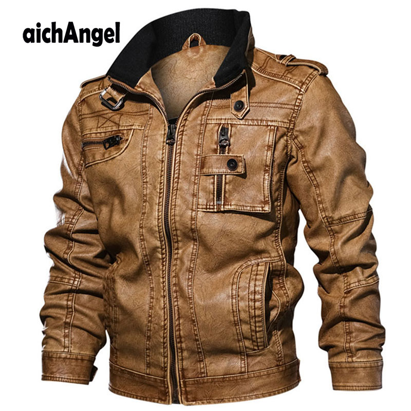 Jackets Men Slim Fit Casual Outwear Bomber Jacket Winderbreaker PU Motorcycle Leather Jackets male fur coat Dropshipping