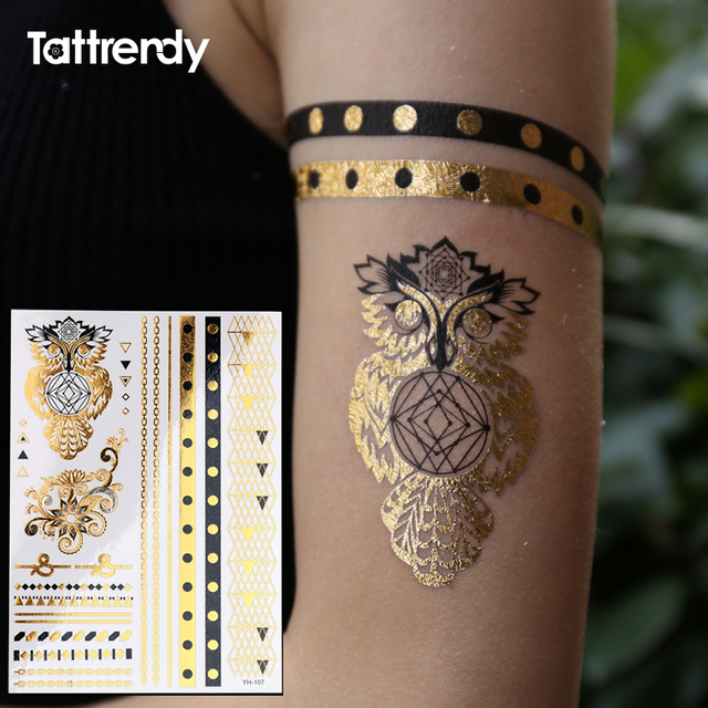 Us 095 30 Offowl Ring Jewel Temporary Tattoo Fake On The Body Hand Flash Tattoos Stickers Waterproof Henna Black Gold Indian Design Yh107 In