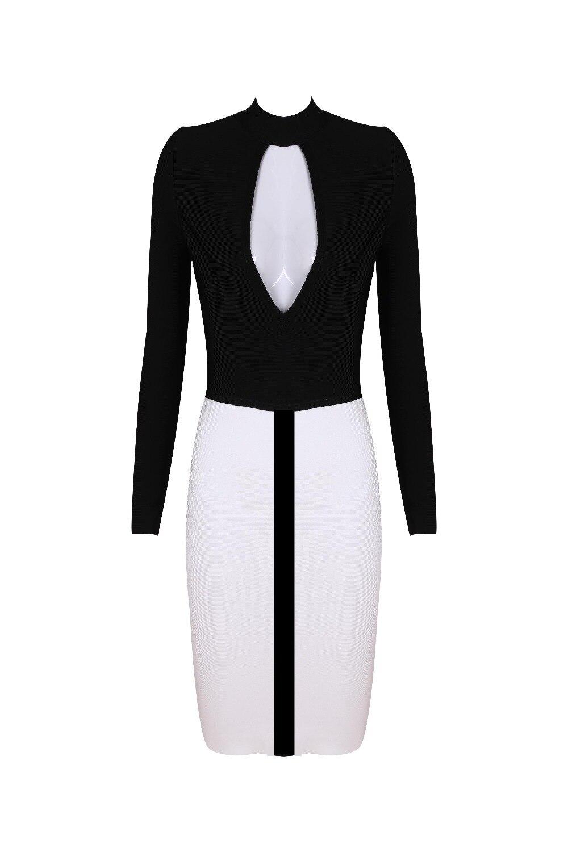 2017 Sexy Femmes Robes Noir Manches Élégante Mode Bandage Celebrity Patchwork Qualité Moulante Party Haute Longues Keyhole Rayonne Robe qtf7gx1