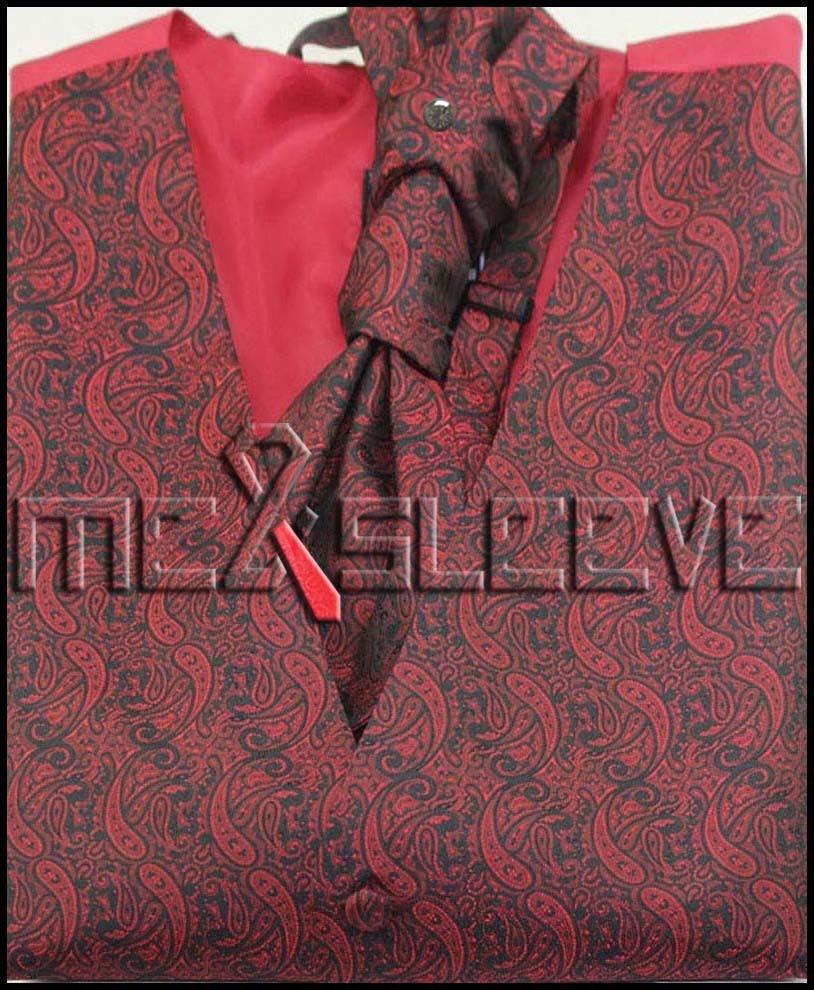 Free shipping MENS Polyester wedding burgundy paisley VEST Fullback ALL SIZES