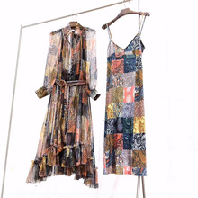 Luxury Runway Dresses 2019 Spring Summer New Bohemian Style Long Lantern Sleeve Ruffles Ladies 100% Pure Silk Dress
