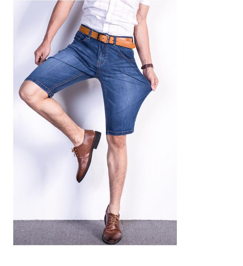 2019 Brand Mens Summer Stretch Thin quality Denim Jeans male Short Men blue Denim Jean Shorts Pants big Size 40 42 new