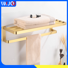 цена Bathroom Towel Holder Brass Wall Mounted Towel Rack Hanging Holder Decorative Single Towel Bar Hanger Gold Bathroom Accessories онлайн в 2017 году