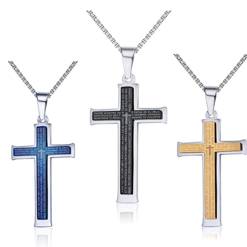 Hommes en acier inoxydable Croix pendentif argent bleu collier chaîne bijoux