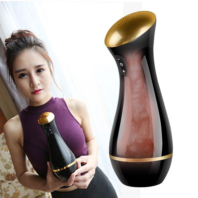 Gelugee Süße interaktion Künstliche Vagina Echte Pussy Silikon, Saugen Vibrator Sex Spielzeug für Männer Tasche Pussy
