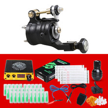 Professional Rotary Tattoo Machine Kit Tattoo Power With Integral Needles Clip Cord Grips Supplies(China)