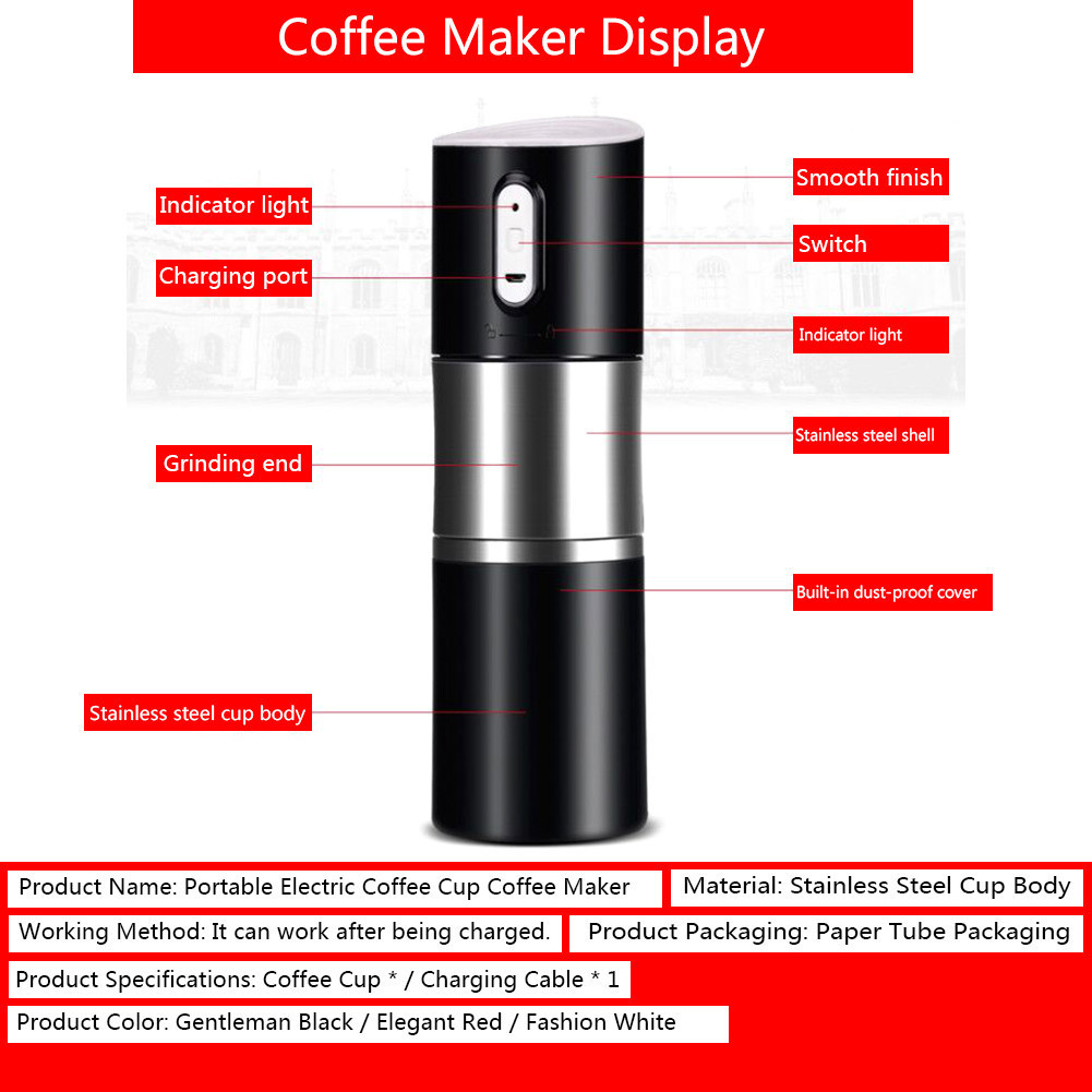 Mini Portable Electric Coffee Maker Usb Charging Auto Machine Stainless Steel Grinder Pot Outdoor In Pots From Home Garden On