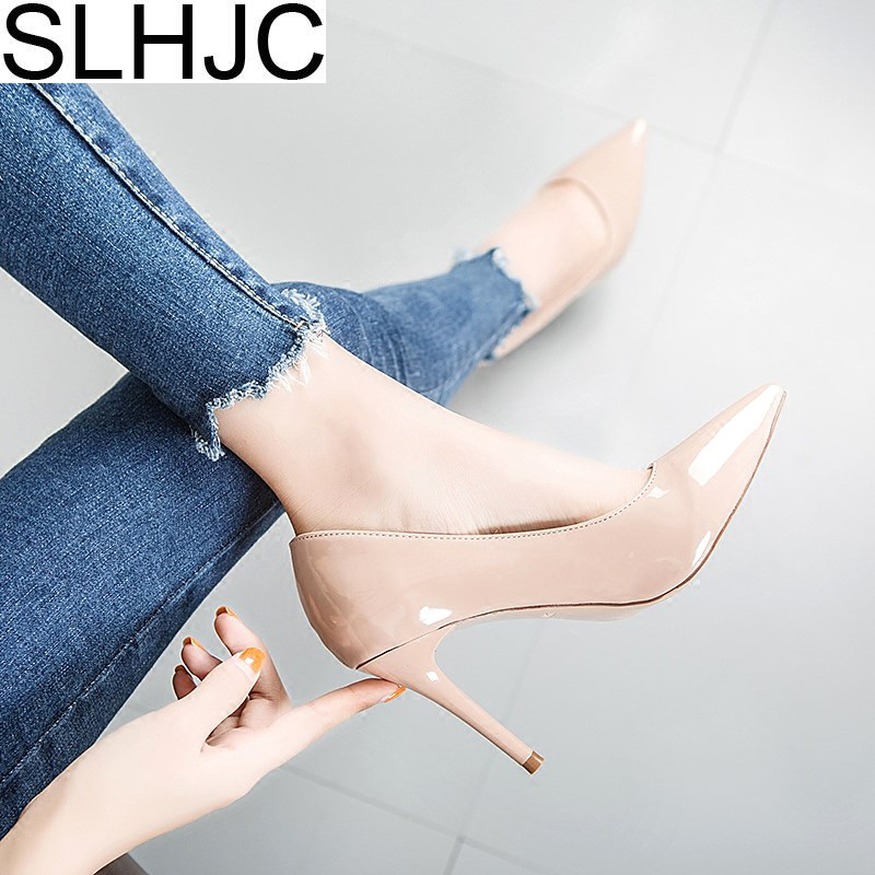 SLHJC 2018 Pumps Women Stiletto Heels Pointy Toe High Heel Shoes Leather Slip On Classical Party Wedding Shoes 9 CM nayiduyun women genuine leather wedge high heel pumps platform creepers round toe slip on casual shoes boots wedge sneakers