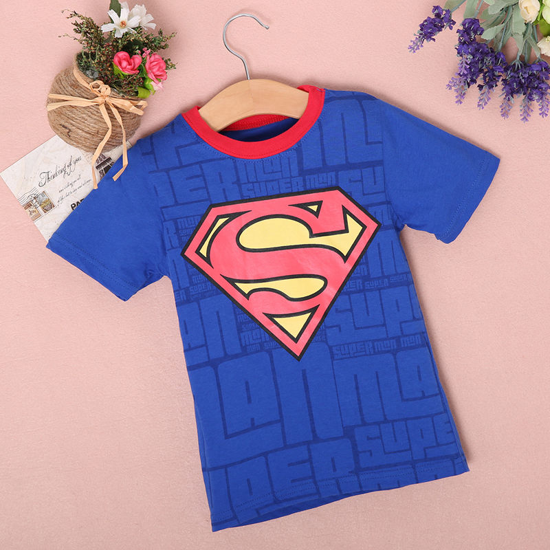 New-2016-Boy-Superman-T-Shirt-clothes-O-neck-short-sleeve-t-shirts-for-couples-Cotton-tees-2