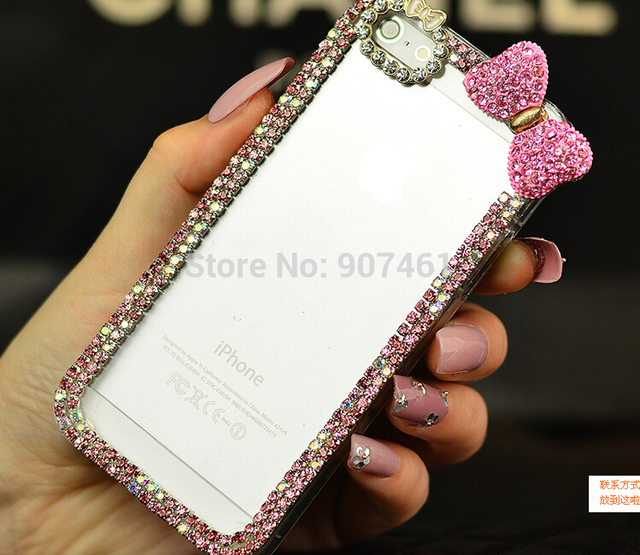"Rhinestone Rose red bow Crystal luxury clear Diamond bling for girl's case cover for apple iphone 6 4.7"" inch plus 5.5"" inch"