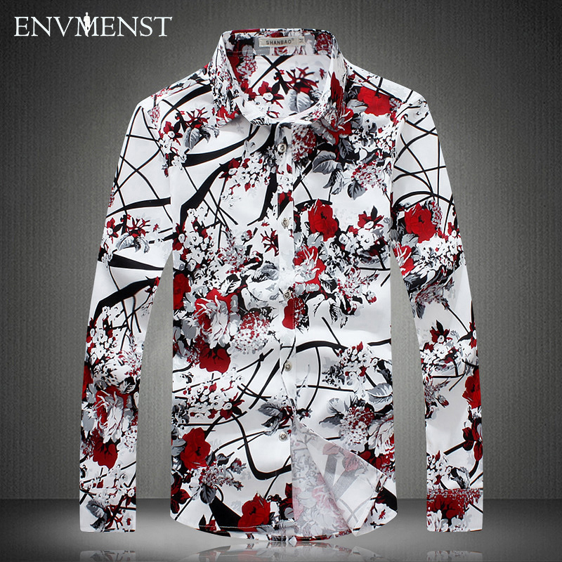 2017 new men's long-sleeved shirt High quality fashion men's Slim casual shirt floral romantic large size men clothing