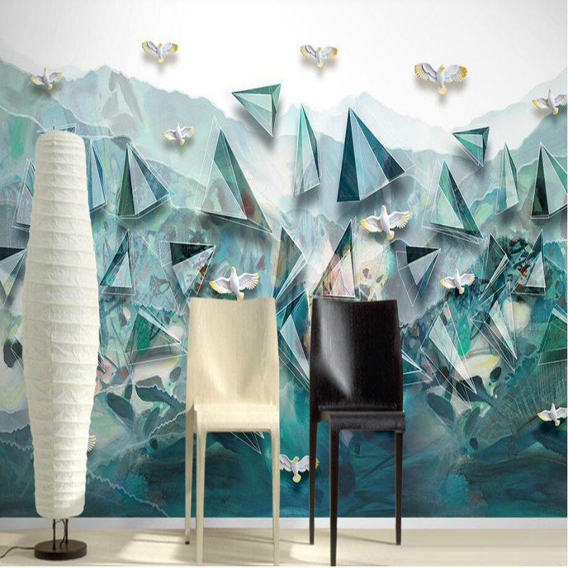Home Improvement 3D Non-Woven Wallpaper for Walls 3d Decorative Wall Paper Abstract geometric decorative painting Wallpapers 3d modern wallpapers home decor flower wallpaper 3d non woven wall paper roll bird trees wallpaper decorative bedroom wall paper