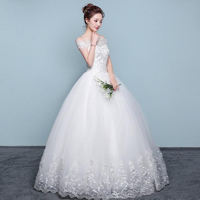 Wedding Dress 2018 New Mrs Win Cheap Boat Neck Ball Gown Off The Shoulder Princess Wedding Dresses Plus Size Vestido De Noiva F 3
