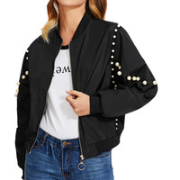 2018 Women Long Sleeve Loose Slim Suit Outwear Pearl Beading Bomber Coat Jacketwomen Cardigans Autumn Winter