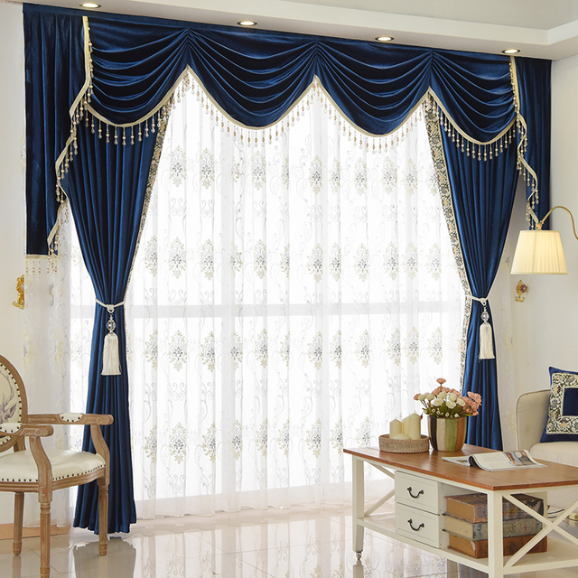 Personnalisé rideau De Luxe chambre salon de style Européen bleu ...