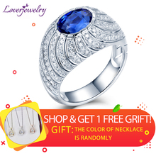 Women Fashion Rings 2019 Solid 18K White Gold Natural Blue Sapphire Diamonds Ring Fine Jewelry For Femme Engagement Wedding Gift недорого