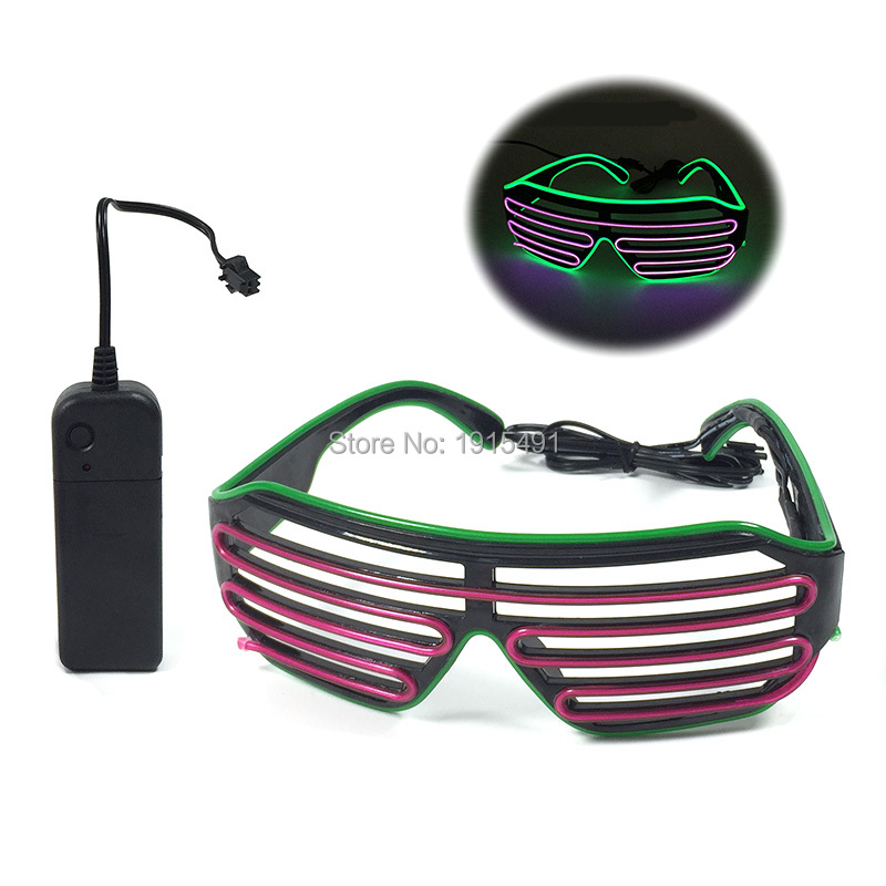 New 2019 Fashionable Green+Purple EL Wire Glasses Holiday Lighting LED Strip Multicolor Glasses For Christmas,Halloween,Easter