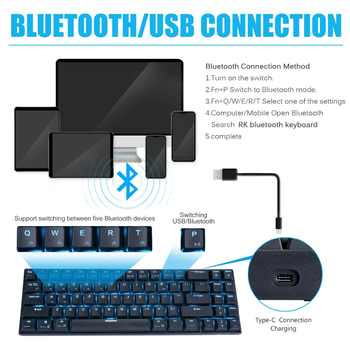 Royal Kludge RK71 71 Keys Mechanical Keyboard Small Compact Bluetooth 3.0 Wireless USB Ice Blue LED Backlit Blue Brown Switch
