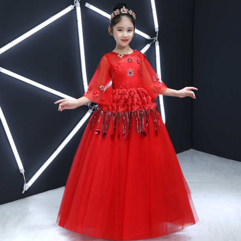2018 Chinese Wind Luxury Red Half Sleeves Toddler Clothes Princess Girls Lace Dress Child Baby Girls Birthday Wedding Dresses green crew neck roll half sleeves mini dress