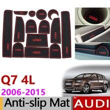 Противоскользящие резиновые ворота слот чашки коврик для Audi Q7 4L 2006- S линии логотип аксессуары 2007 2008 2009 2010 2011 2012 2013 1