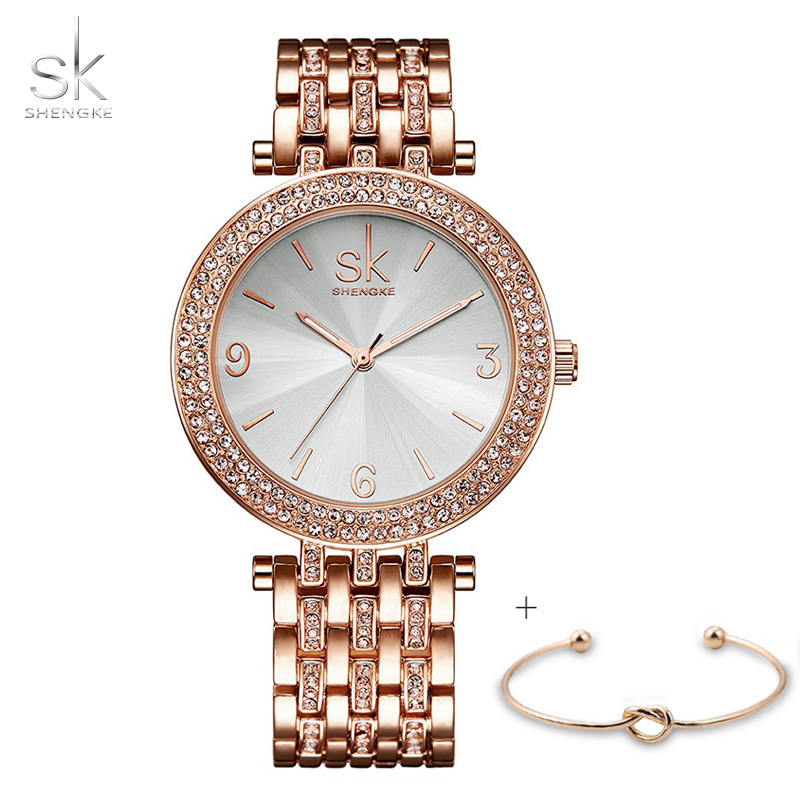 SK Luxury Women Quartz Wrist Watch Ladies Crytal Gold Dial Charms Bracelet Watches MILAN Snap Female Clock Relogio Feminino