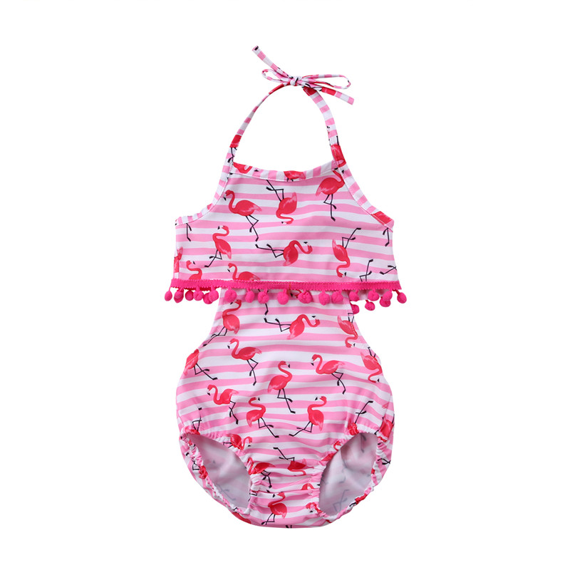 1-6 Year's Children's Bikini 2018 New Baby Girls Flamingo Printed Swimming Bathing Suit Toddler Kid One Piece Swimsuit Swimwear