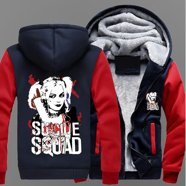 Suicide squad hooded clown woman Harry Quinn men and women with the game around the thickened hooded jacket