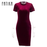 FATIKA 2017 Summer Short Sleeve Velvet Short Casual Women Dress Fashion Women Clothing Elegant Bodycon Party