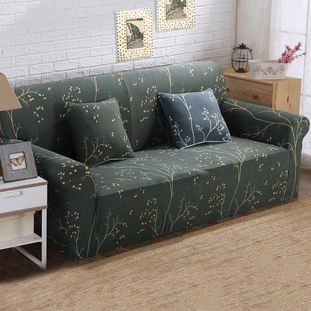 Flower Solid Plush Sofa Cover Elastic Sofa Slipcover Autumn And Winter  Sectional Comfortable Couch Covers Two