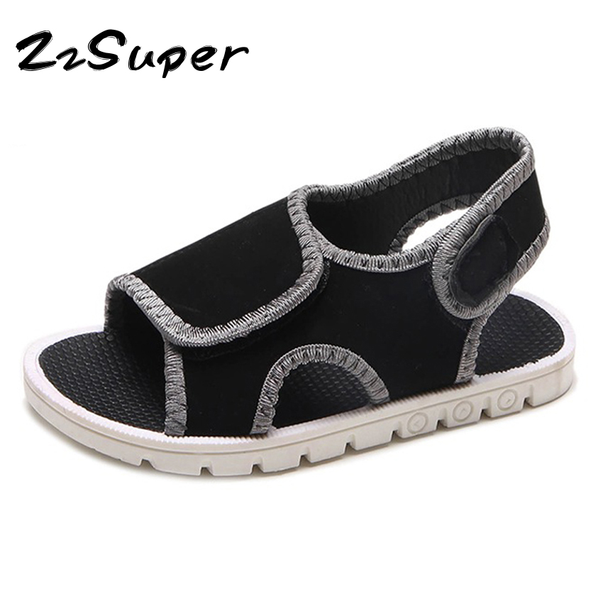 Fashion beach sandals for girls boys kids summer cool shoes big hook&loop flat open-toe cut-outs baby children sandals EUR 23-34