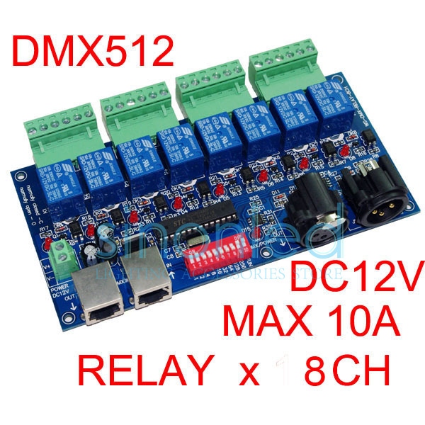 8CH Relay switch dmx512 Controller, relay output,DMX512 relay control,8way relay switch(max 10A) 660v ui 10a ith 8 terminals rotary cam universal changeover combination switch