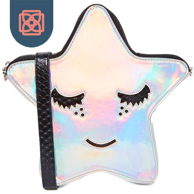 Cute Lady Messenger Bags famous brand designer Star cross body bag Laser holographic Shoulder Bag Women Purse