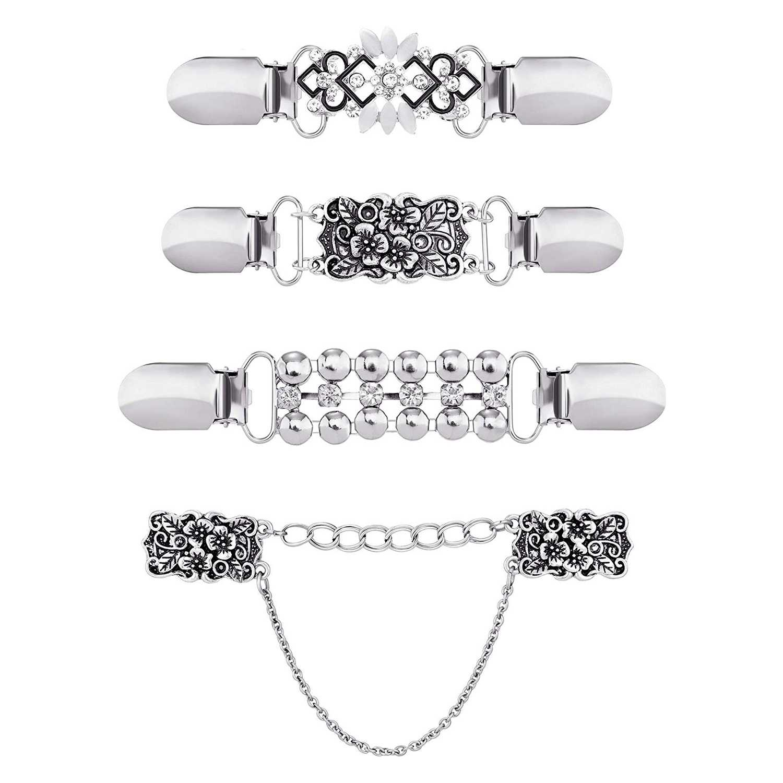 4 шт. винтажный свитер зажим для шали платья кардиган воротник зажим цветочный узор зажим для женщин девочек, 4 стиля - Цвет: Silver