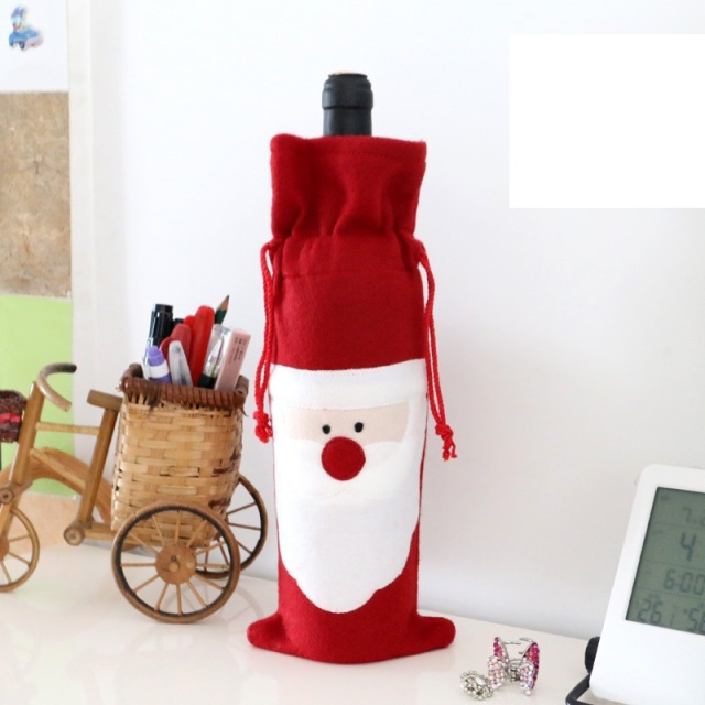 Christmas Santa Clause Bottle Cover Christmas Dinner Party Decoration Suppliers Christmas Gifts decoracion navidad hogar