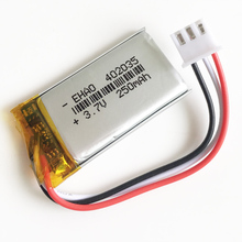 3.7V 250mAh JST XHR 2.54mm 3pin connector 402035 Lithium Polymer LiPo Rechargeable battery