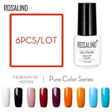 Розалинд Гель-лак для ногтей 6 шт./компл. белая бутылка однотонные Цвет серии нужен топ и Базовое покрытие для Гель-лак УФ& светодиодный Гель-лак для ногтей, набор